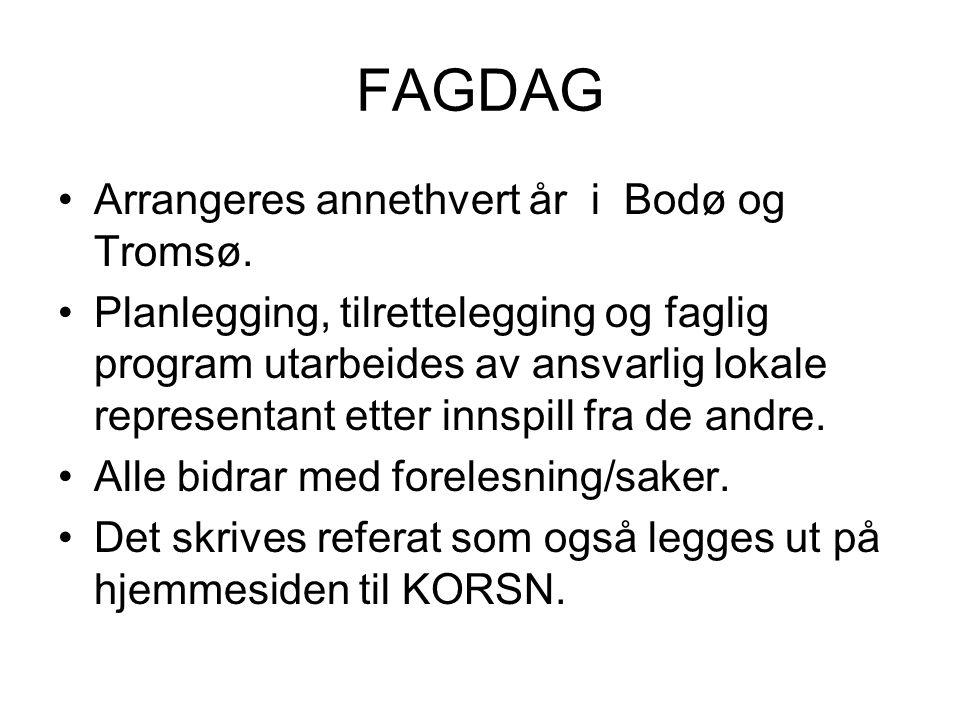 FAGDAG Arrangeres annethvert år i Bodø og Tromsø. Planlegging, tilrettelegging og faglig program utarbeides av ansvarlig lokale representant etter inn