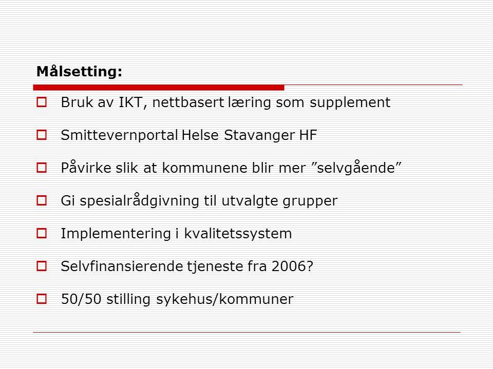 Målsetting:  Bruk av IKT, nettbasert læring som supplement  Smittevernportal Helse Stavanger HF  Påvirke slik at kommunene blir mer selvgående  Gi spesialrådgivning til utvalgte grupper  Implementering i kvalitetssystem  Selvfinansierende tjeneste fra 2006.