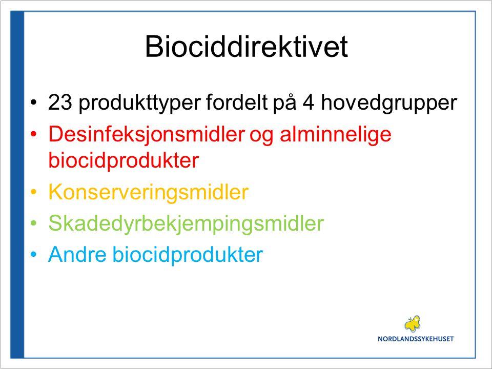 Biociddirektivet 23 produkttyper fordelt på 4 hovedgrupper Desinfeksjonsmidler og alminnelige biocidprodukter Konserveringsmidler Skadedyrbekjempingsm