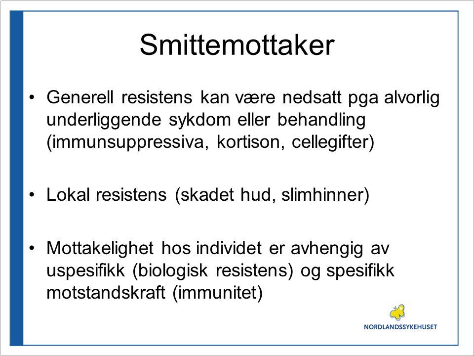Smittemottaker Generell resistens kan være nedsatt pga alvorlig underliggende sykdom eller behandling (immunsuppressiva, kortison, cellegifter) Lokal