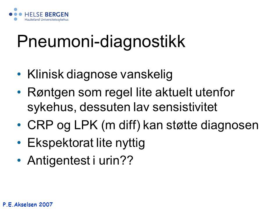 P.E.Akselsen 2007 Pneumoni-diagnostikk Klinisk diagnose vanskelig Røntgen som regel lite aktuelt utenfor sykehus, dessuten lav sensistivitet CRP og LP