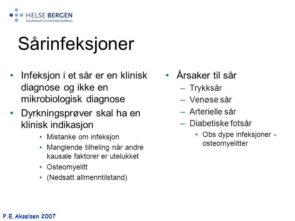 P.E.Akselsen 2007 Sårinfeksjoner Infeksjon i et sår er en klinisk diagnose og ikke en mikrobiologisk diagnose Dyrkningsprøver skal ha en klinisk indik