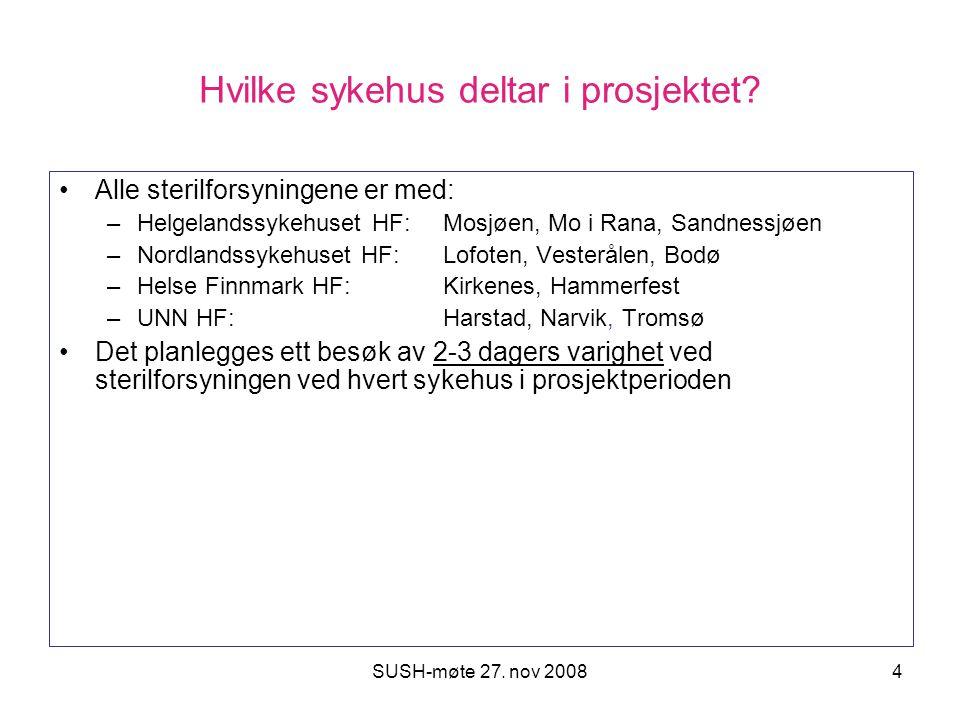 SUSH-møte 27. nov 20084 Hvilke sykehus deltar i prosjektet? Alle sterilforsyningene er med: –Helgelandssykehuset HF: Mosjøen, Mo i Rana, Sandnessjøen