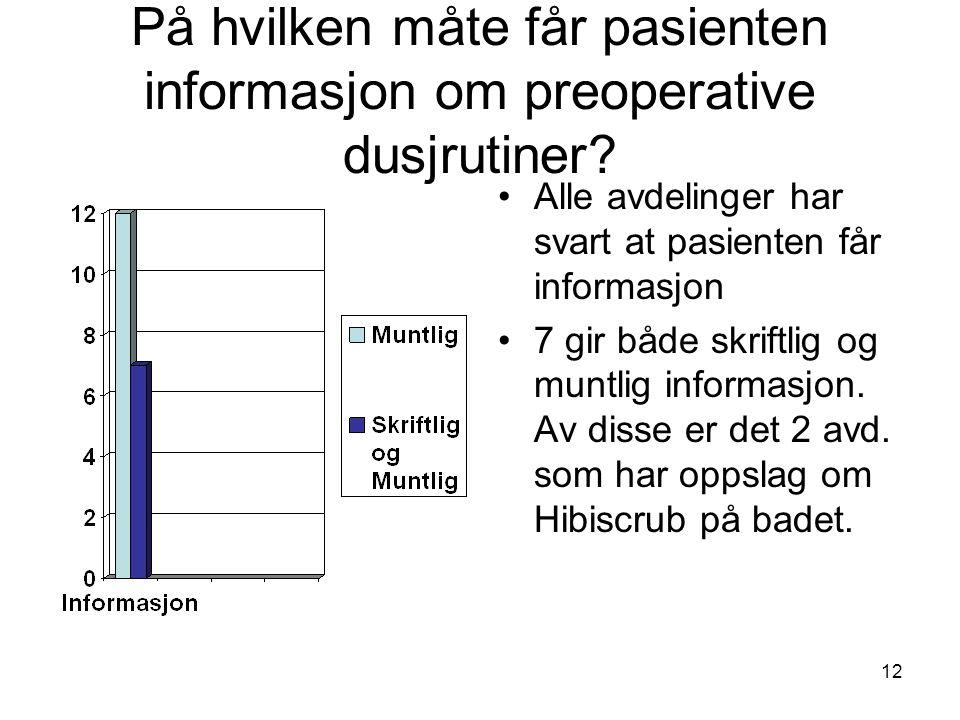 12 På hvilken måte får pasienten informasjon om preoperative dusjrutiner? Alle avdelinger har svart at pasienten får informasjon 7 gir både skriftlig