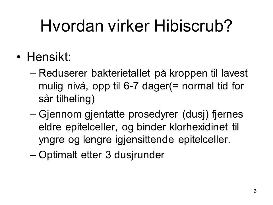 6 Hvordan virker Hibiscrub? Hensikt: –Reduserer bakterietallet på kroppen til lavest mulig nivå, opp til 6-7 dager(= normal tid for sår tilheling) –Gj