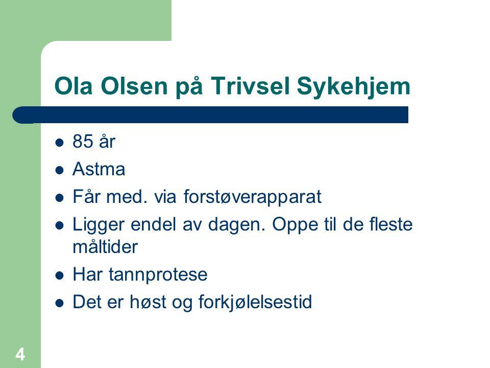 4 Ola Olsen på Trivsel Sykehjem 85 år Astma Får med. via forstøverapparat Ligger endel av dagen. Oppe til de fleste måltider Har tannprotese Det er hø