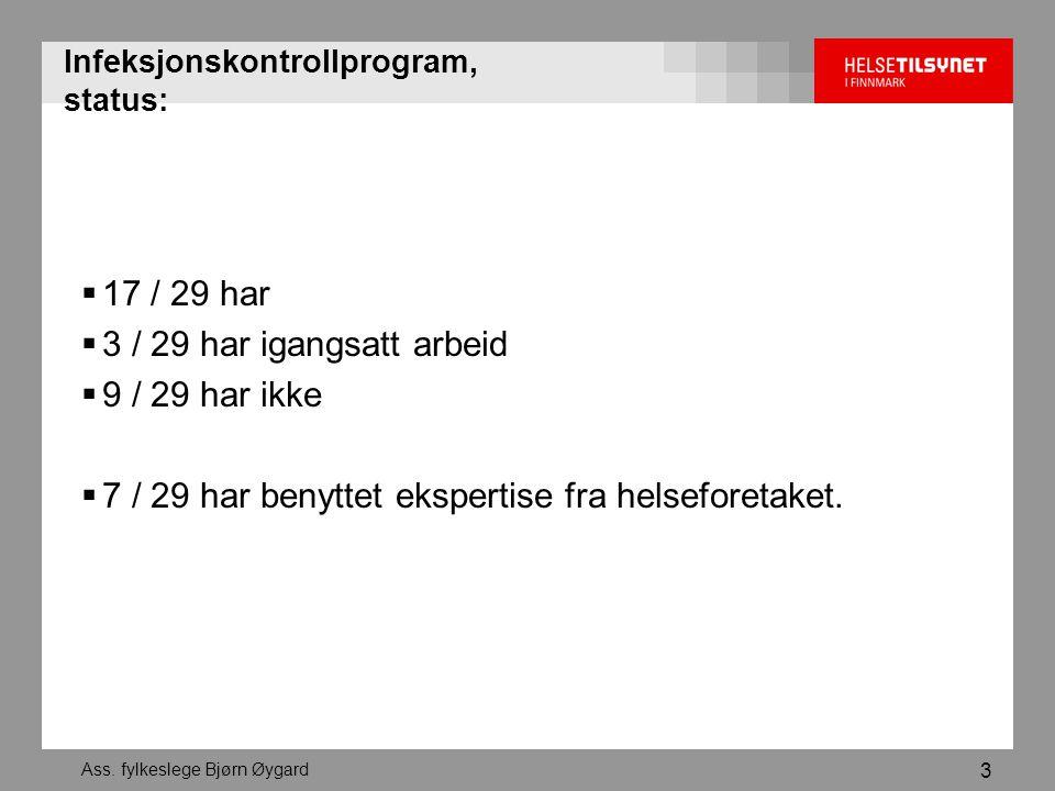 Ass. fylkeslege Bjørn Øygard 3 Infeksjonskontrollprogram, status:  17 / 29 har  3 / 29 har igangsatt arbeid  9 / 29 har ikke  7 / 29 har benyttet