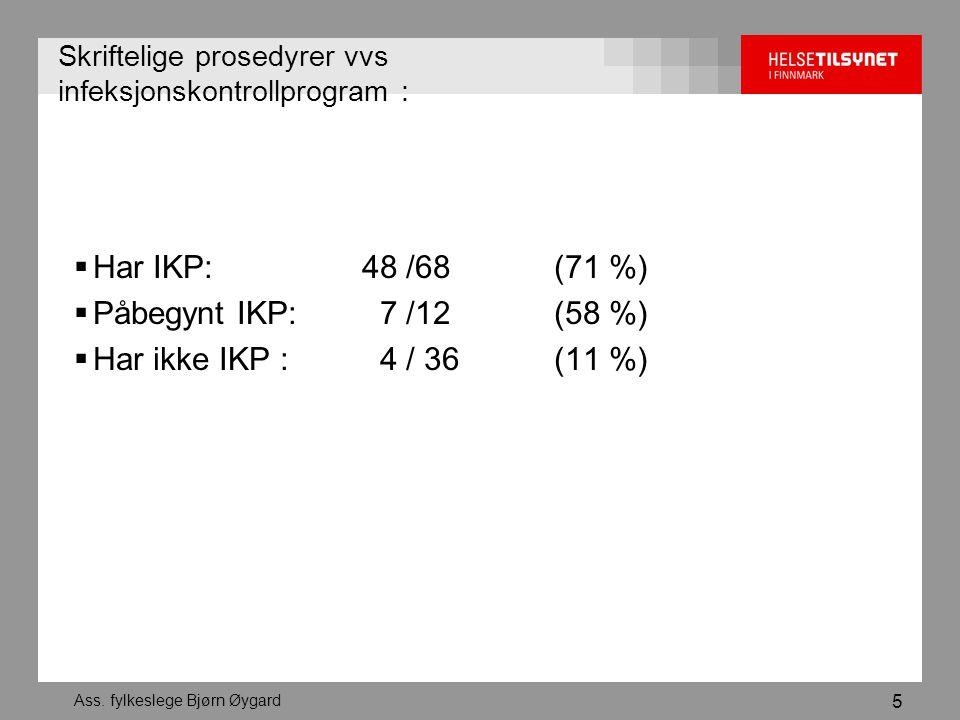 Ass. fylkeslege Bjørn Øygard 5 Skriftelige prosedyrer vvs infeksjonskontrollprogram :  Har IKP: 48 /68 (71 %)  Påbegynt IKP: 7 /12 (58 %)  Har ikke