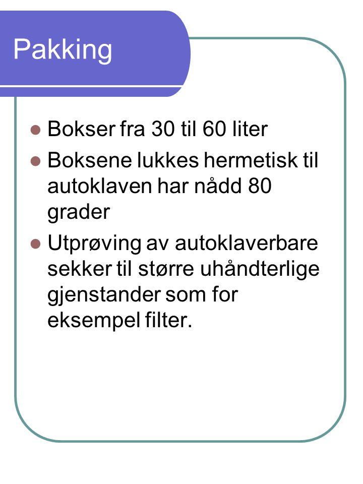 Pakking Bokser fra 30 til 60 liter Boksene lukkes hermetisk til autoklaven har nådd 80 grader Utprøving av autoklaverbare sekker til større uhåndterlige gjenstander som for eksempel filter.