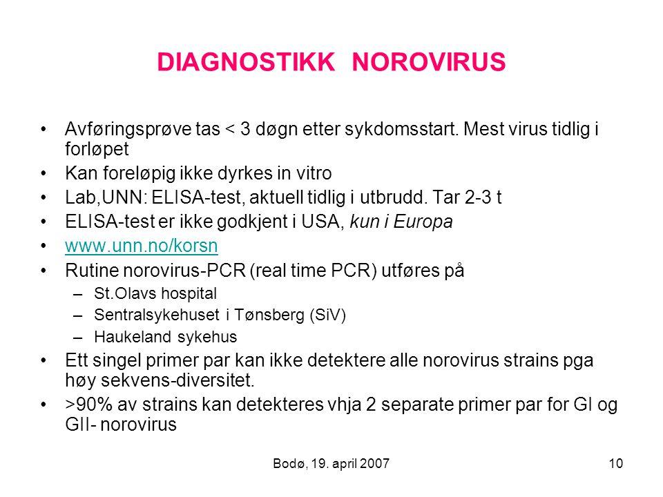 Bodø, 19. april 200710 DIAGNOSTIKK NOROVIRUS Avføringsprøve tas < 3 døgn etter sykdomsstart. Mest virus tidlig i forløpet Kan foreløpig ikke dyrkes in