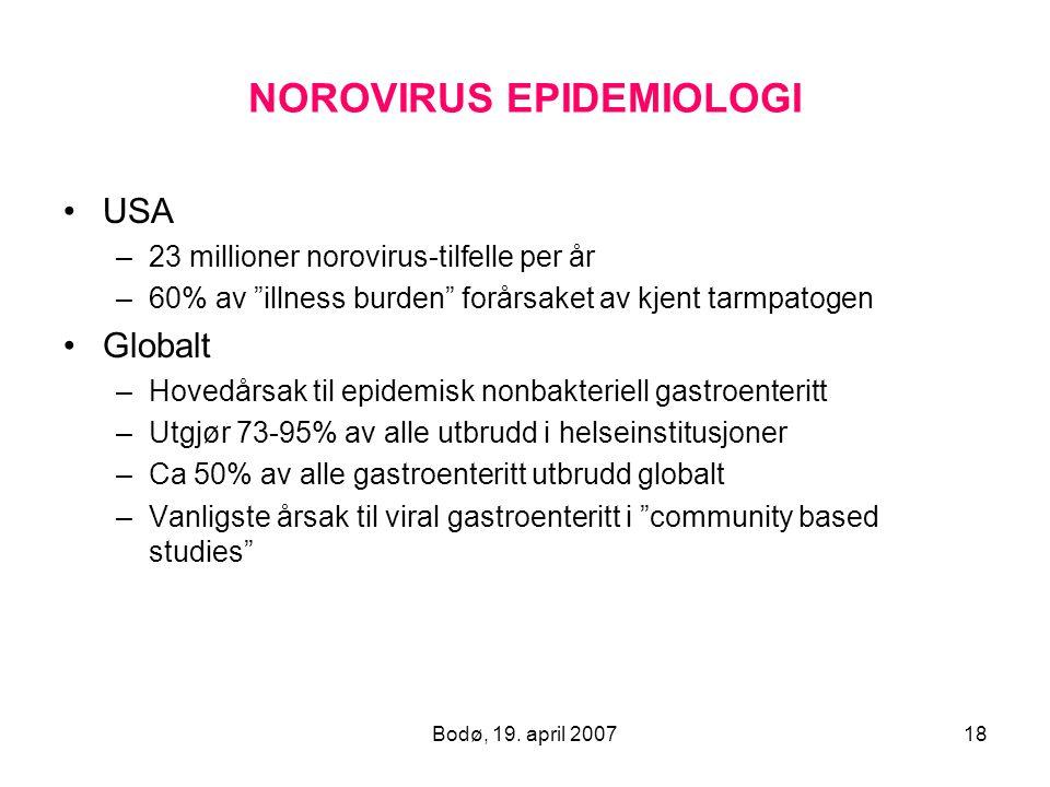 """Bodø, 19. april 200718 NOROVIRUS EPIDEMIOLOGI USA –23 millioner norovirus-tilfelle per år –60% av """"illness burden"""" forårsaket av kjent tarmpatogen Glo"""
