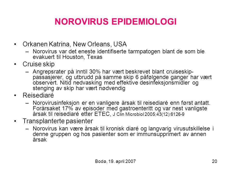 Bodø, 19. april 200720 NOROVIRUS EPIDEMIOLOGI Orkanen Katrina, New Orleans, USA –Norovirus var det eneste identifiserte tarmpatogen blant de som ble e