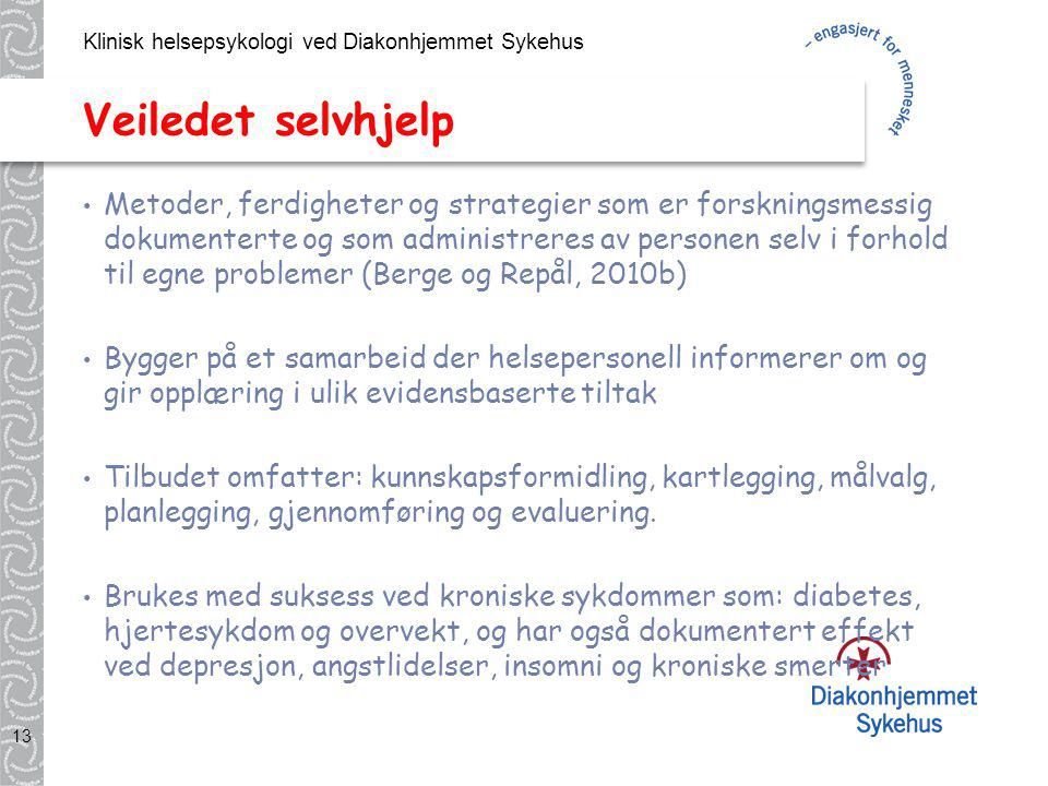 Klinisk helsepsykologi ved Diakonhjemmet Sykehus 13 Veiledet selvhjelp Metoder, ferdigheter og strategier som er forskningsmessig dokumenterte og som