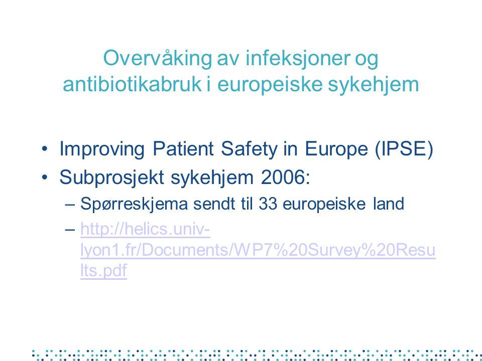 Overvåking av infeksjoner og antibiotikabruk i europeiske sykehjem Improving Patient Safety in Europe (IPSE) Subprosjekt sykehjem 2006: –Spørreskjema