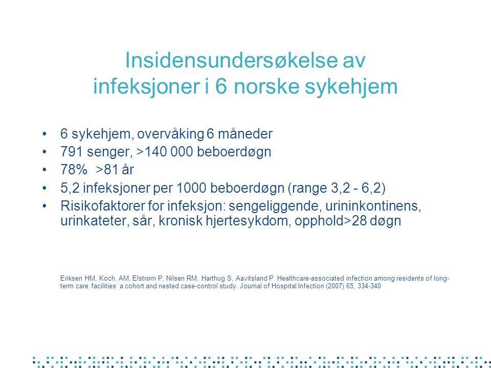 Insidensundersøkelse av infeksjoner i 6 norske sykehjem 6 sykehjem, overvåking 6 måneder 791 senger, >140 000 beboerdøgn 78% >81 år 5,2 infeksjoner pe