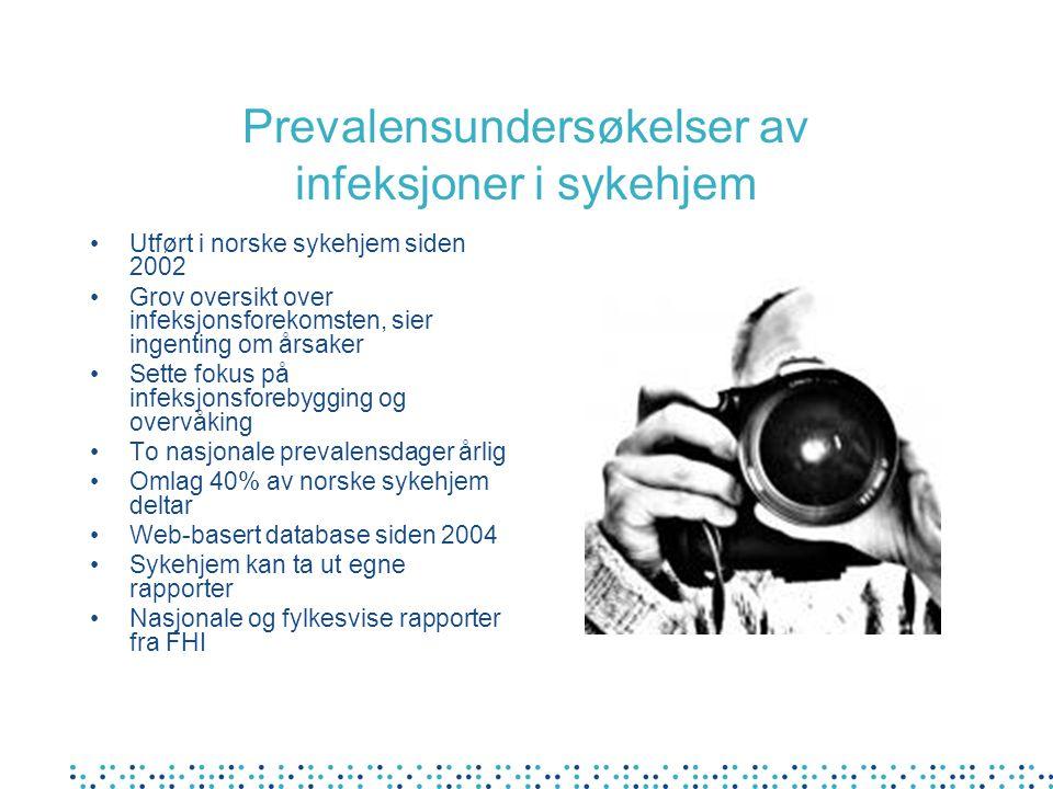Prevalensundersøkelser av infeksjoner i sykehjem Utført i norske sykehjem siden 2002 Grov oversikt over infeksjonsforekomsten, sier ingenting om årsak