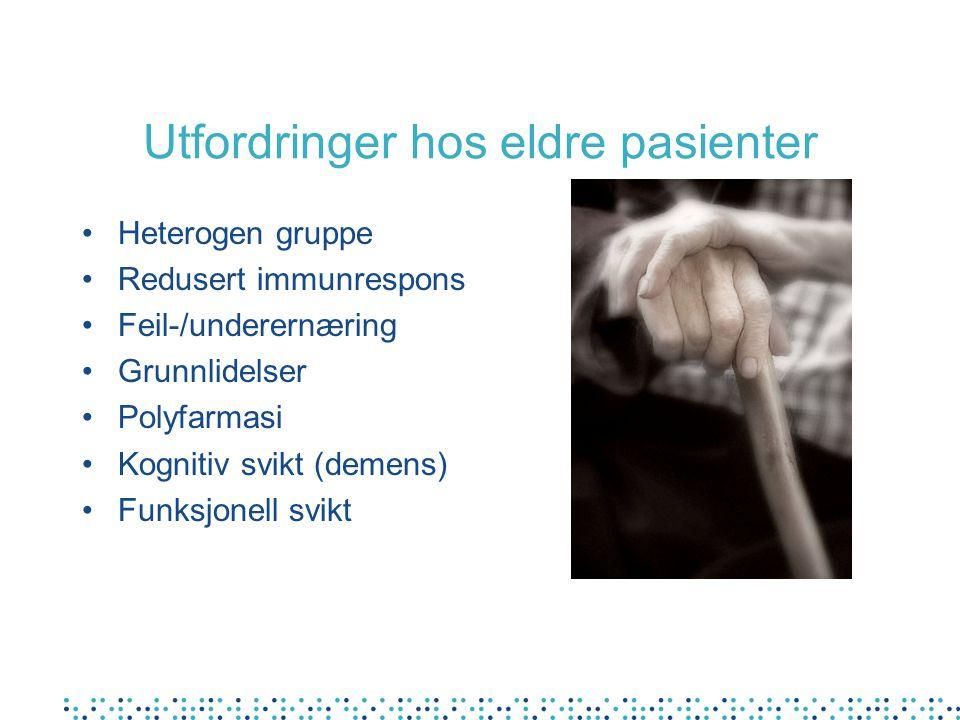 Utfordringer hos eldre pasienter Heterogen gruppe Redusert immunrespons Feil-/underernæring Grunnlidelser Polyfarmasi Kognitiv svikt (demens) Funksjon