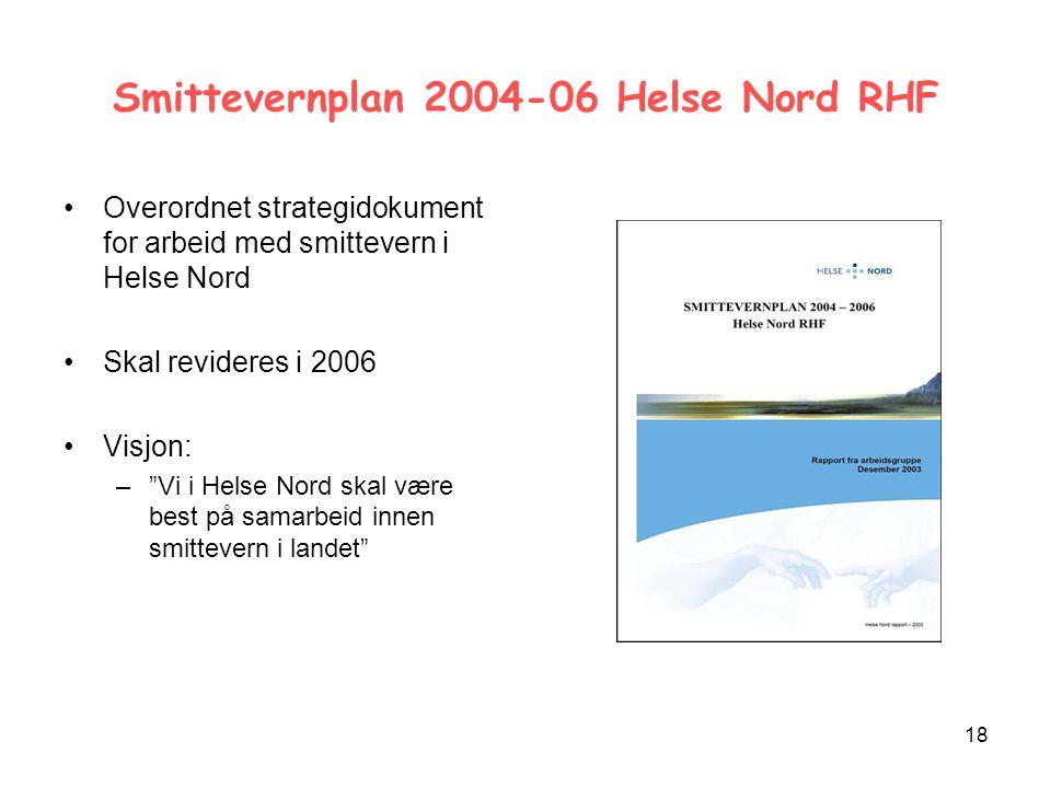 18 Smittevernplan 2004-06 Helse Nord RHF Overordnet strategidokument for arbeid med smittevern i Helse Nord Skal revideres i 2006 Visjon: – Vi i Helse Nord skal være best på samarbeid innen smittevern i landet