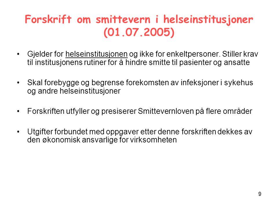 9 Forskrift om smittevern i helseinstitusjoner (01.07.2005) Gjelder for helseinstitusjonen og ikke for enkeltpersoner.