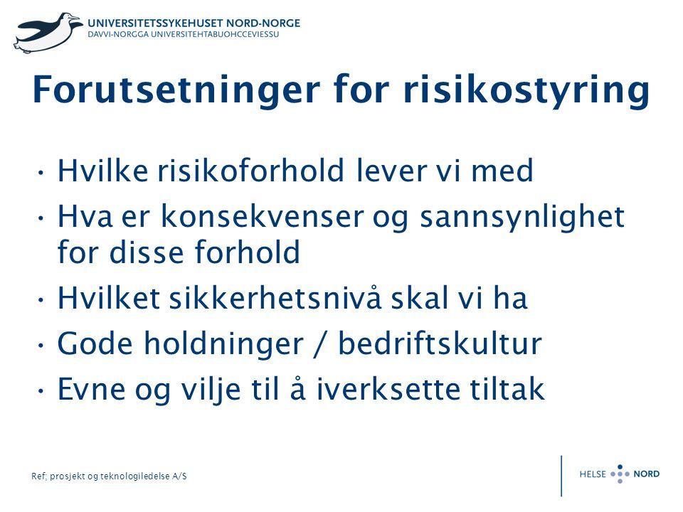 Ref; prosjekt og teknologiledelse A/S Forutsetninger for risikostyring Hvilke risikoforhold lever vi med Hva er konsekvenser og sannsynlighet for diss