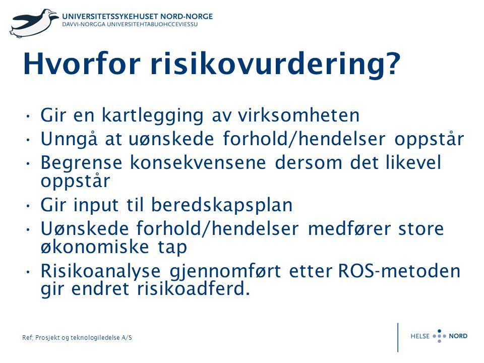 Ref; Prosjekt og teknologiledelse A/S Hvorfor risikovurdering? Gir en kartlegging av virksomheten Unngå at uønskede forhold/hendelser oppstår Begrense