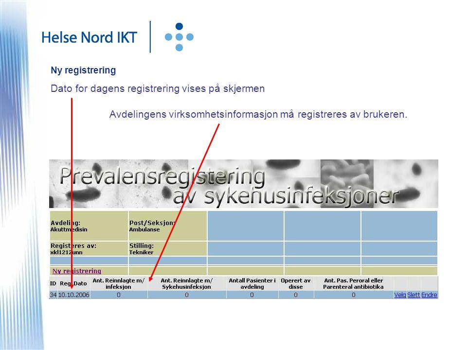 Ny registrering Dato for dagens registrering vises på skjermen Avdelingens virksomhetsinformasjon må registreres av brukeren.
