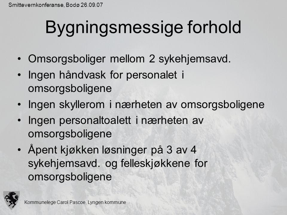 Kommunelege Carol Pascoe, Lyngen kommune Smittevernkonferanse, Bodø 26.09.07 Bygningsmessige forhold Omsorgsboliger mellom 2 sykehjemsavd. Ingen håndv