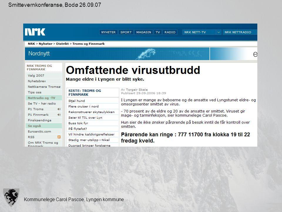 Kommunelege Carol Pascoe, Lyngen kommune Smittevernkonferanse, Bodø 26.09.07