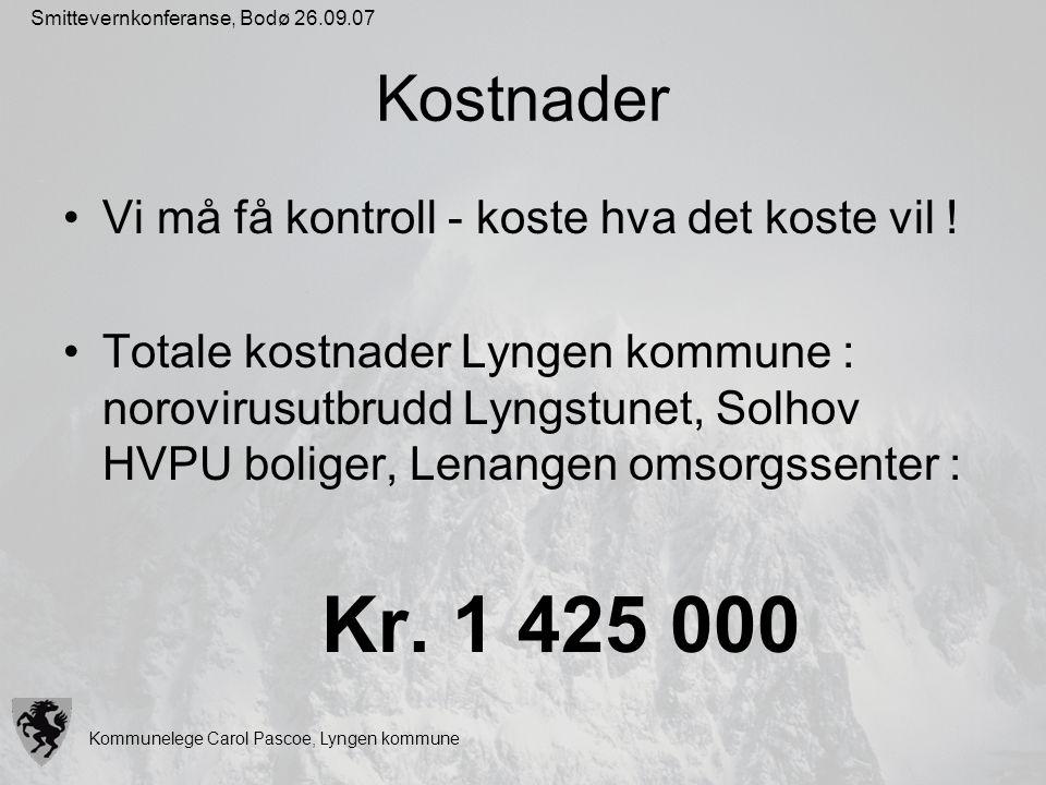 Kommunelege Carol Pascoe, Lyngen kommune Smittevernkonferanse, Bodø 26.09.07 Kostnader Vi må få kontroll - koste hva det koste vil ! Totale kostnader