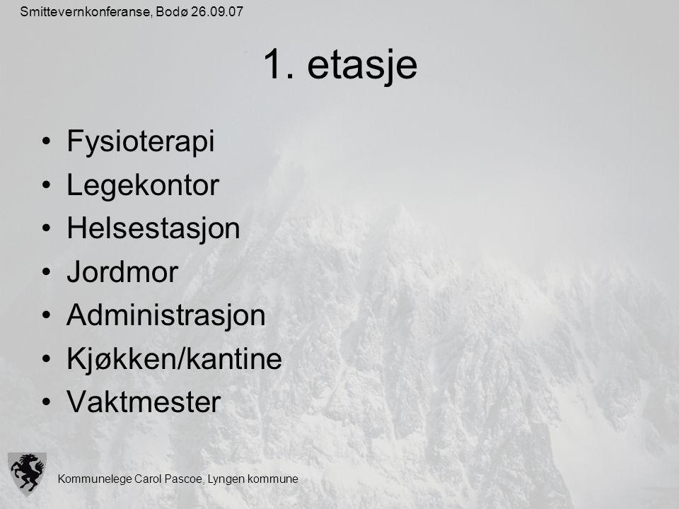 Kommunelege Carol Pascoe, Lyngen kommune Smittevernkonferanse, Bodø 26.09.07 1. etasje Fysioterapi Legekontor Helsestasjon Jordmor Administrasjon Kjøk