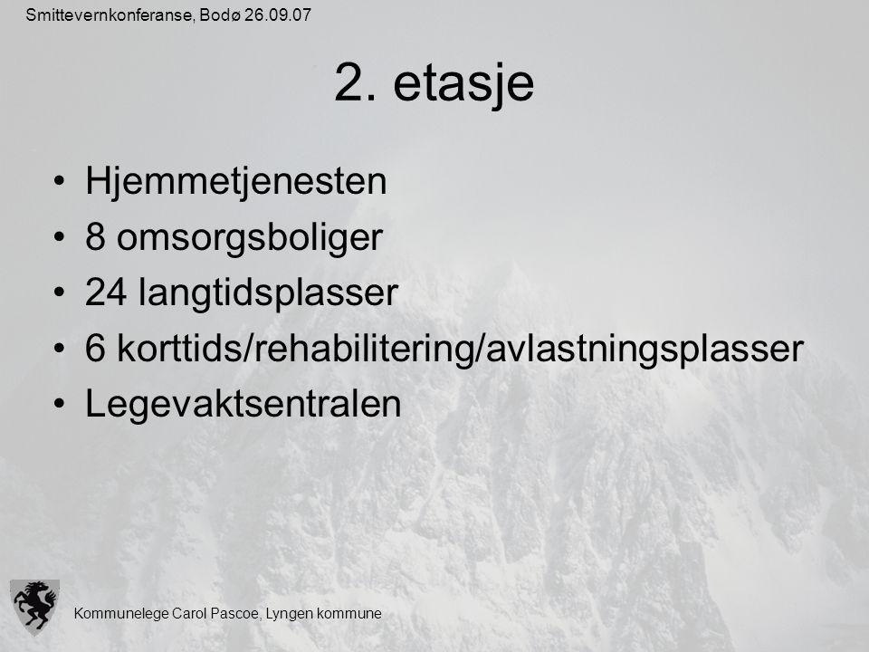 Kommunelege Carol Pascoe, Lyngen kommune Smittevernkonferanse, Bodø 26.09.07 2. etasje Hjemmetjenesten 8 omsorgsboliger 24 langtidsplasser 6 korttids/