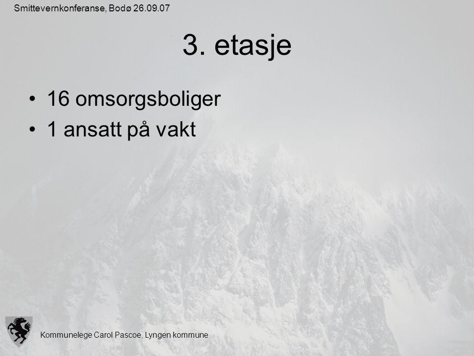 Kommunelege Carol Pascoe, Lyngen kommune Smittevernkonferanse, Bodø 26.09.07 3. etasje 16 omsorgsboliger 1 ansatt på vakt
