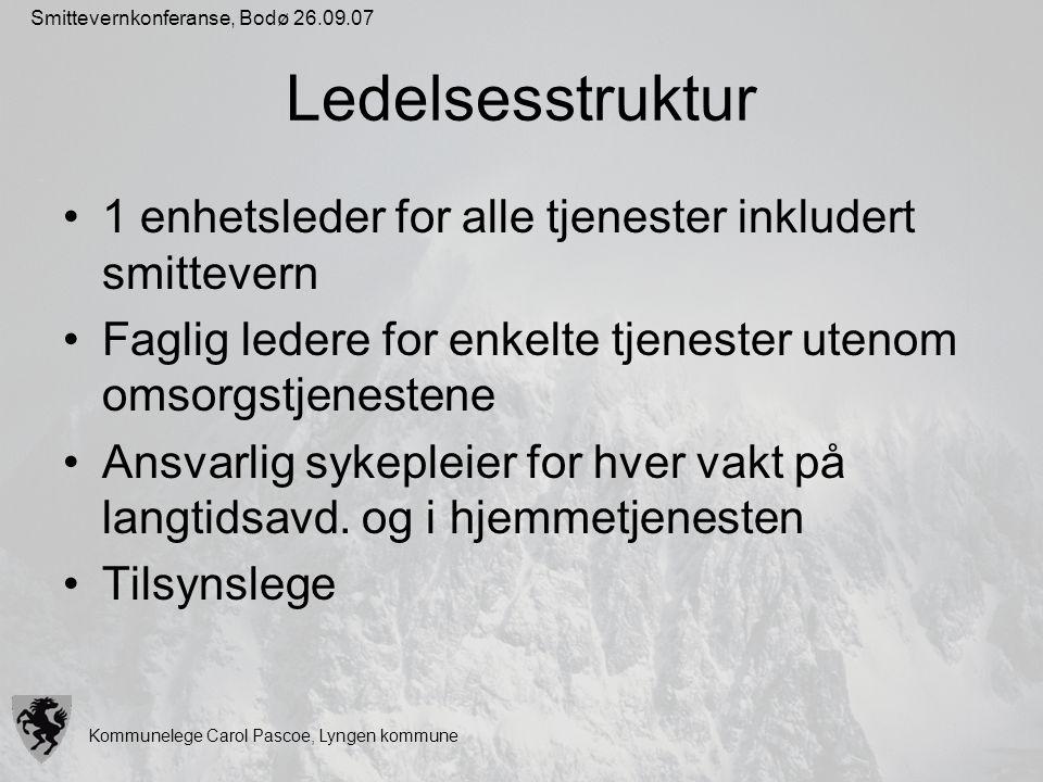 Kommunelege Carol Pascoe, Lyngen kommune Smittevernkonferanse, Bodø 26.09.07 Ledelsesstruktur 1 enhetsleder for alle tjenester inkludert smittevern Fa