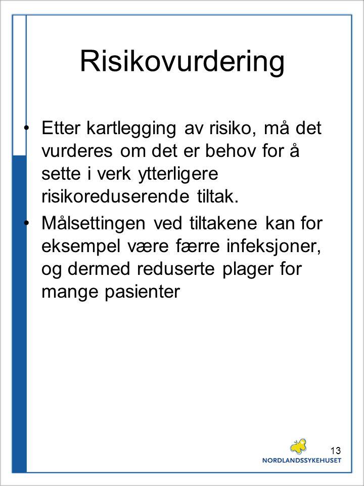 13 Risikovurdering Etter kartlegging av risiko, må det vurderes om det er behov for å sette i verk ytterligere risikoreduserende tiltak. Målsettingen
