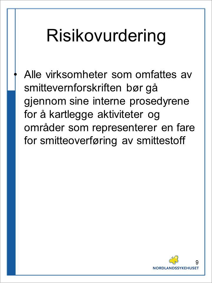 9 Risikovurdering Alle virksomheter som omfattes av smittevernforskriften bør gå gjennom sine interne prosedyrene for å kartlegge aktiviteter og områd