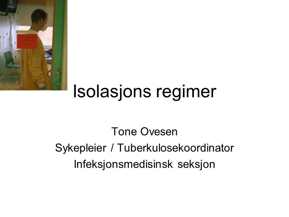 Tone Ovesen, tone.ovesen@unn.no 2 Tema Isolasjonsformer Beskyttelsesutstyr Isolat Samarbeid/kommunikasjon med personale fra andre avdelinger