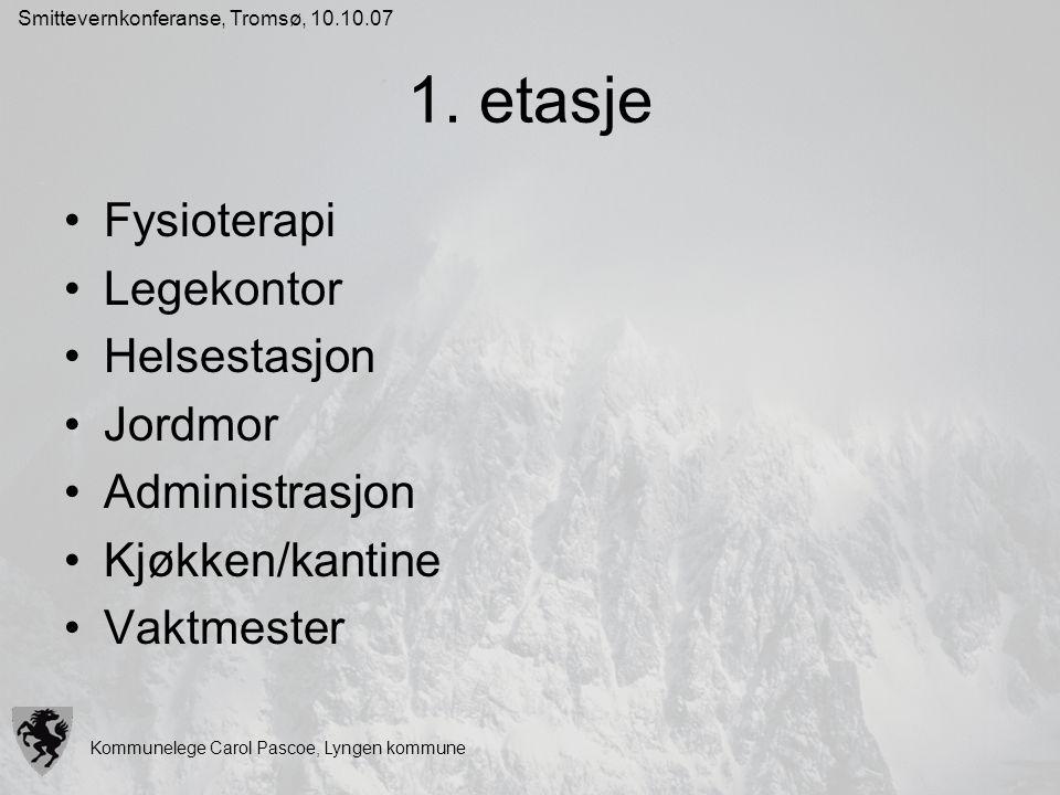 Kommunelege Carol Pascoe, Lyngen kommune Smittevernkonferanse, Tromsø, 10.10.07 1. etasje Fysioterapi Legekontor Helsestasjon Jordmor Administrasjon K