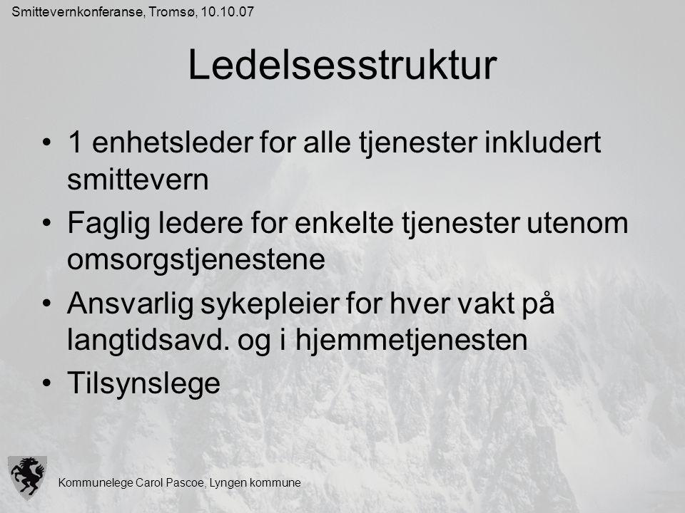 Kommunelege Carol Pascoe, Lyngen kommune Smittevernkonferanse, Tromsø, 10.10.07 Ledelsesstruktur 1 enhetsleder for alle tjenester inkludert smittevern