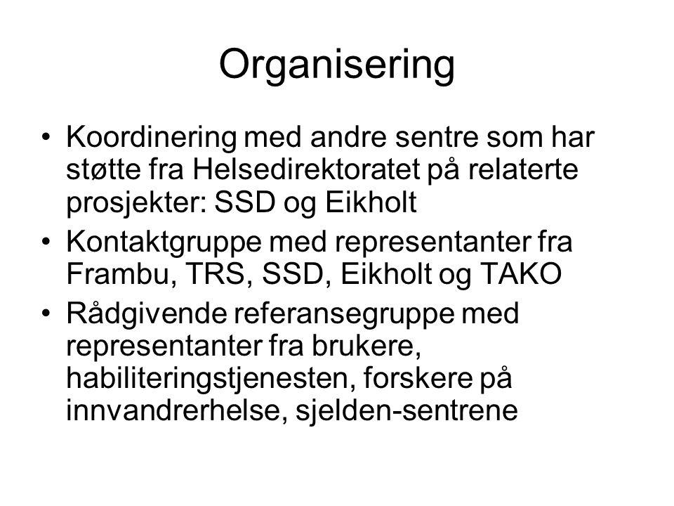 Organisering Koordinering med andre sentre som har støtte fra Helsedirektoratet på relaterte prosjekter: SSD og Eikholt Kontaktgruppe med representanter fra Frambu, TRS, SSD, Eikholt og TAKO Rådgivende referansegruppe med representanter fra brukere, habiliteringstjenesten, forskere på innvandrerhelse, sjelden-sentrene