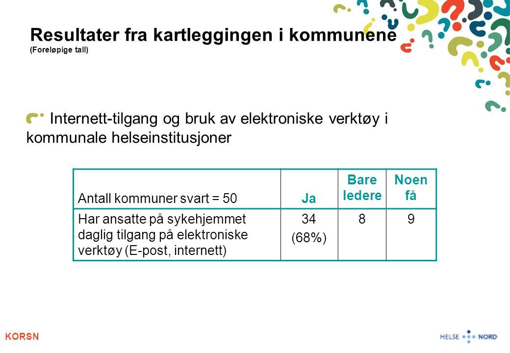 KORSN Resultater fra kartleggingen i kommunene (Foreløpige tall) Internett-tilgang og bruk av elektroniske verktøy i kommunale helseinstitusjoner Anta