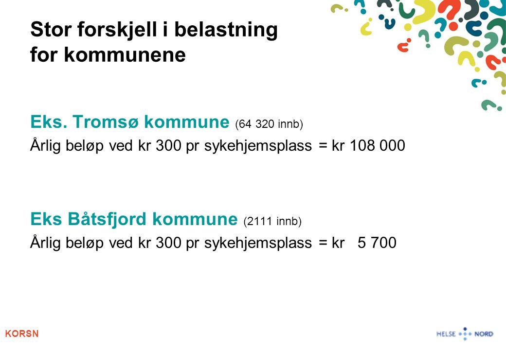 KORSN Stor forskjell i belastning for kommunene Eks. Tromsø kommune (64 320 innb) Årlig beløp ved kr 300 pr sykehjemsplass = kr 108 000 Eks Båtsfjord