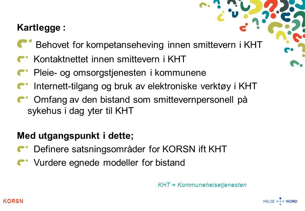 KORSN Kartlegge : Behovet for kompetanseheving innen smittevern i KHT Kontaktnettet innen smittevern i KHT Pleie- og omsorgstjenesten i kommunene Inte