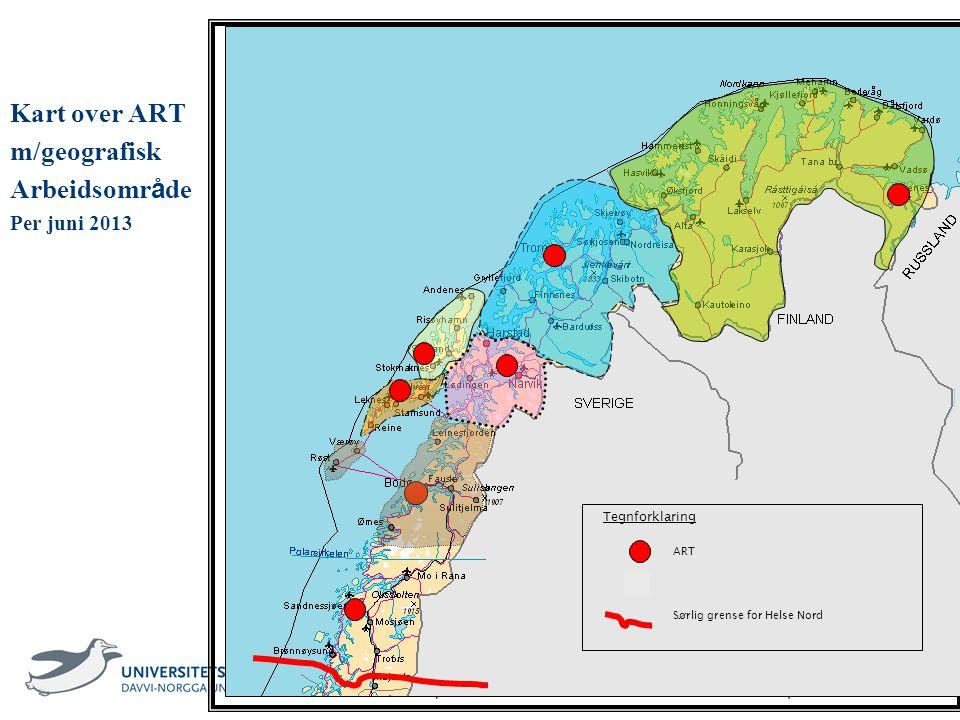 3 Kart over ART m/geografisk Arbeidsomr å de Per juni 2013 ART Sørlig grense for Helse Nord Tegnforklaring