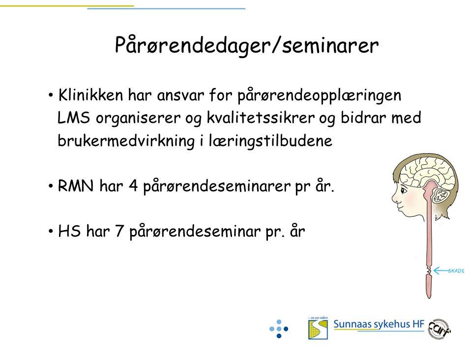 Pårørendedager/seminarer Klinikken har ansvar for pårørendeopplæringen LMS organiserer og kvalitetssikrer og bidrar med brukermedvirkning i læringstil