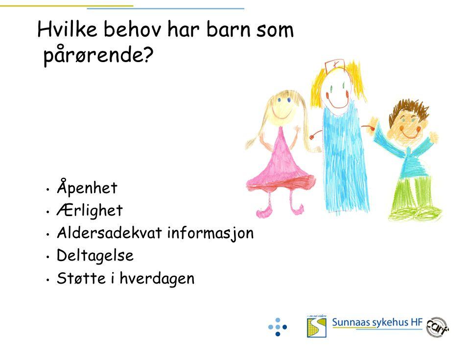 Hvilke behov har barn som pårørende? Åpenhet Ærlighet Aldersadekvat informasjon Deltagelse Støtte i hverdagen