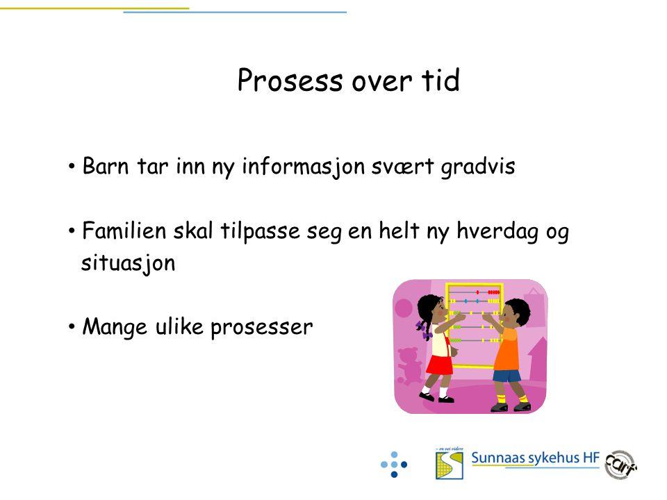 Prosess over tid Barn tar inn ny informasjon svært gradvis Familien skal tilpasse seg en helt ny hverdag og situasjon Mange ulike prosesser å ta hensy
