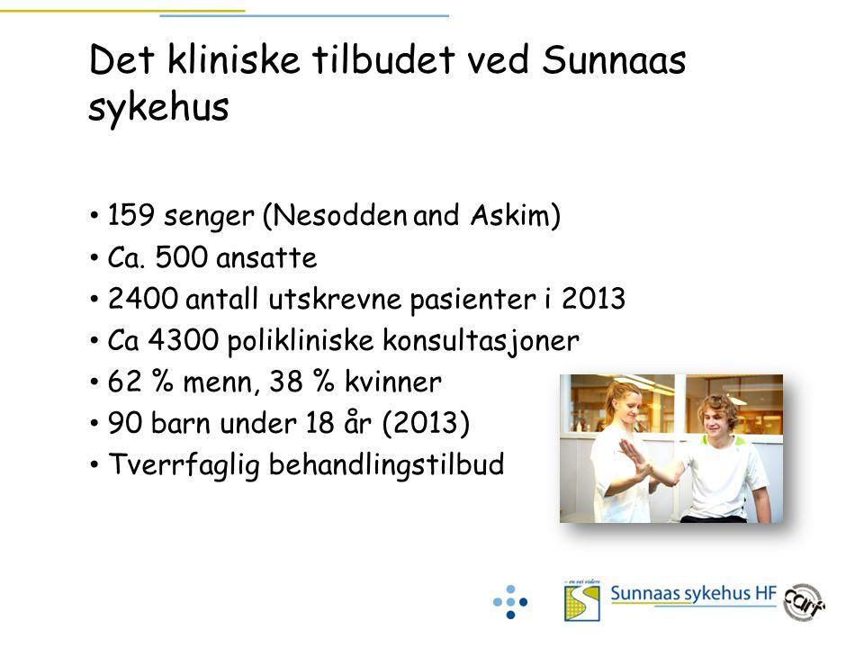 Det kliniske tilbudet ved Sunnaas sykehus 159 senger (Nesodden and Askim) Ca. 500 ansatte 2400 antall utskrevne pasienter i 2013 Ca 4300 polikliniske