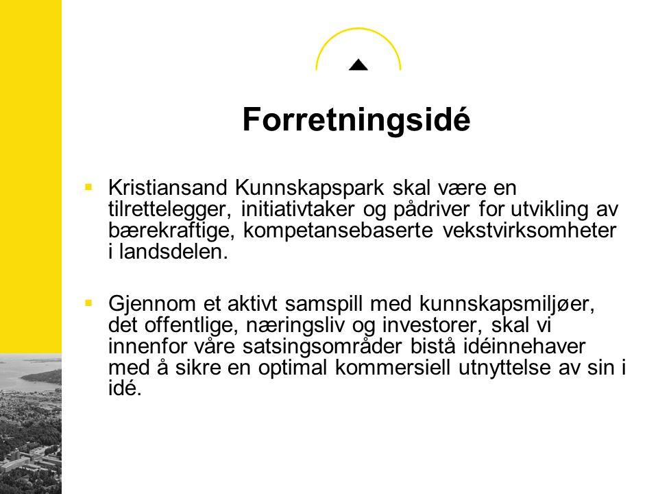 Målgrupper  Kristiansand Kunnskapspark ønsker å være et attraktivt miljø for: –Bedrifter eller prosjekter med behov for inkubasjonstjenester –Nye bedrifter som er knoppskyting fra store bedrifter –Nyskapende samarbeidsprosjekter mellom bedrifter, HiA eller Agderforskning –En bedrifts utviklingsavdeling eller utviklingsprosjekt –Virksomheter som ønsker å gjennomføre prosjekter innenfor våre satsningsområder.