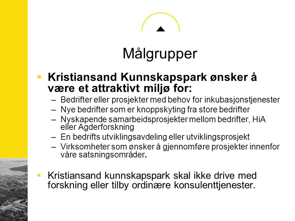 Målgrupper  Kristiansand Kunnskapspark ønsker å være et attraktivt miljø for: –Bedrifter eller prosjekter med behov for inkubasjonstjenester –Nye bed
