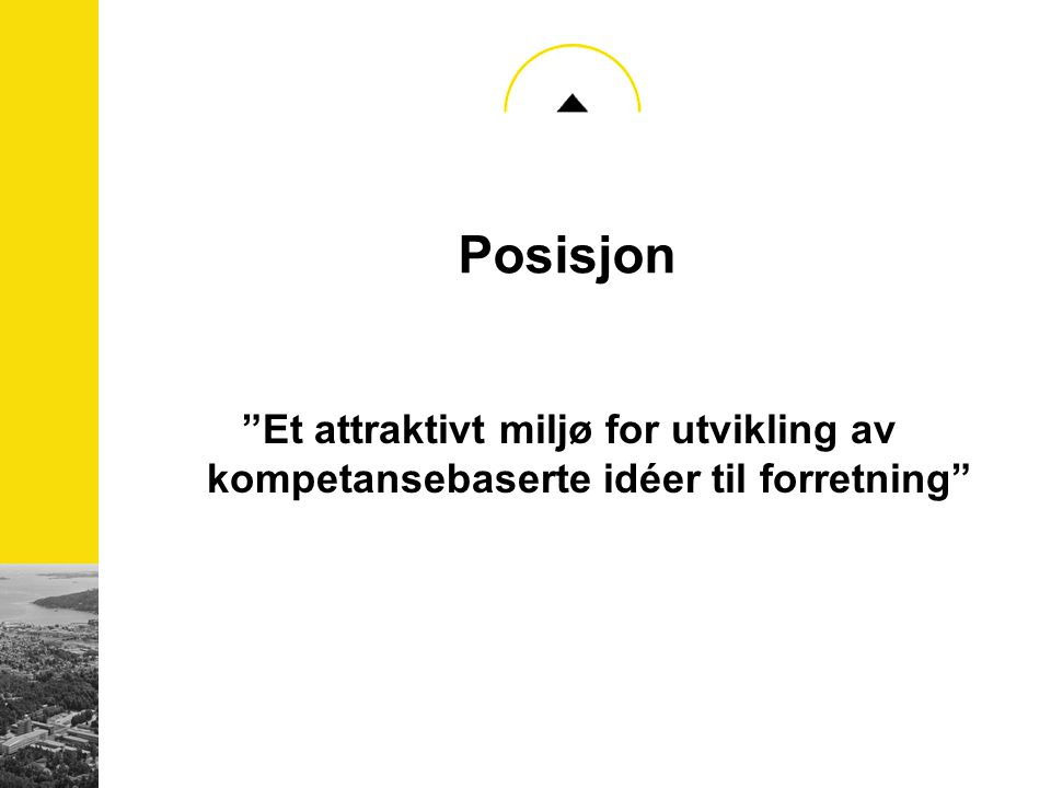 """Posisjon """"Et attraktivt miljø for utvikling av kompetansebaserte idéer til forretning"""""""